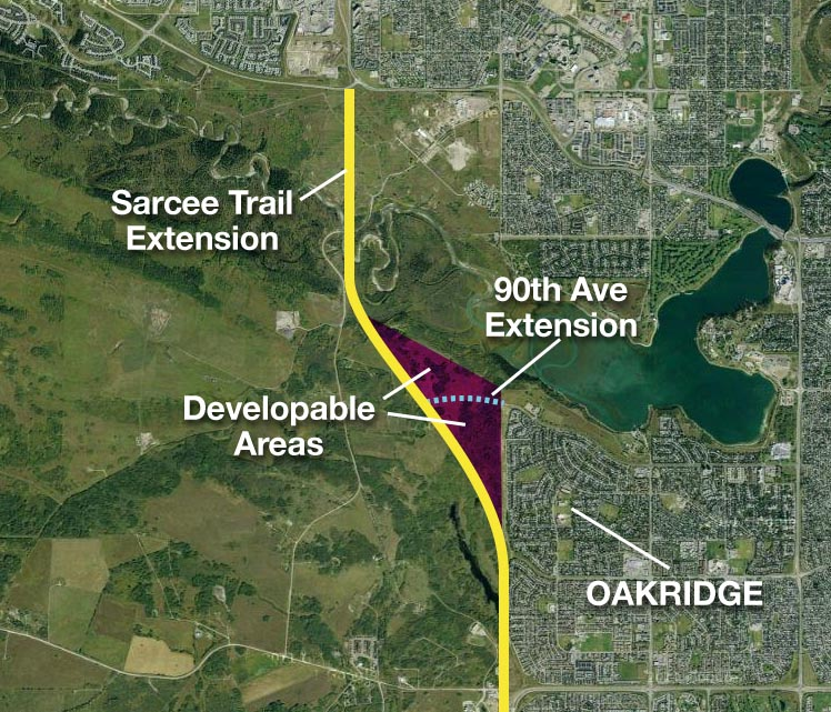 Developable area of Tsuu T'ina reserve, identified in the 1984 Sarcee Trail Planning Study