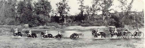 C Battery fording the Elbow River - Sarcee Camp - 1933